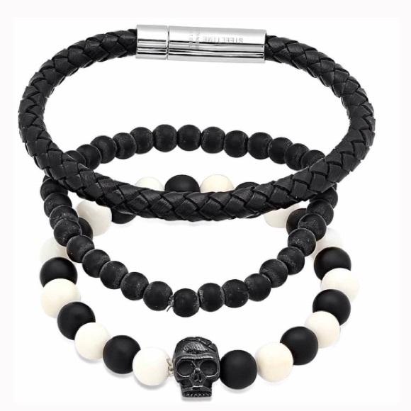 7c466d9d61988 STEELTIME Black & White Bracelet Set w/Skull Bead Boutique